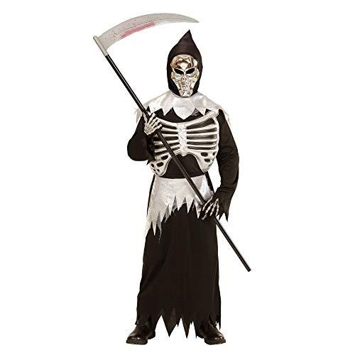 Widmann 03997 - Kinderkostüm Skelett, Robe, Maske, Brustkorb und Schärpe, Größe 140, schwarz