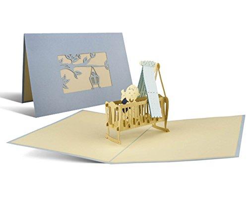 Baby-geschenk-karte Neue (Karte zur Geburt, Glückwunschkarte, Baby Junge, blau, Pop-Up Karte, Baby Geschenk, Gastgeschenk zur Geburt, elegant und edel, G09.2)