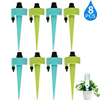 8Pack Plant Watering Devices Vacation Self Watering System,Automatic Irrigation Self Watering Spikes with Drip Slow Release Control Valve,Plant Nanny Suitable for All Bottle Plant Waterer System