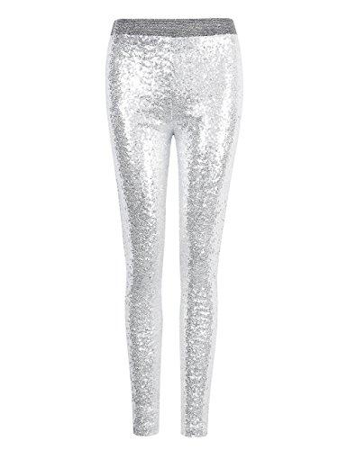 YesFashion Femme Legging Punk Rock Style brillant métal en paillette Argenté