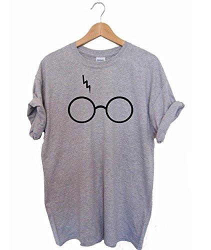 YMYY-Kleider Damen Sommer Kurzarm Rundhals T-Shirt Casual Lose Bluse Harry Potter Laserbrille Drucken Oberteile