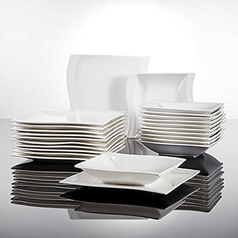 Malacasa, Série Flora, 24pcs Assiettes Porcelaine Service de Table 12 Assiette Creuse à Soupe + 12 Assiettes Plates Design Moderne Vaisselles Plat Céramique