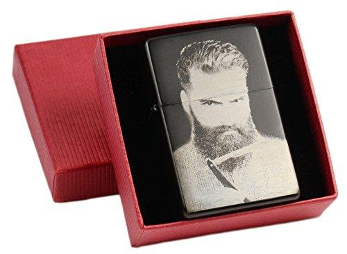 ZORR Benzin Feuerzeug mit EINSEITIGER Wunsch Gravur Fotogravur schwarz matt in Geschenkbox