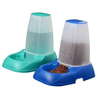 Voilamart Automatischer Futterspender für Haustiere, 2 x 3,5 l, selbstfütternde Futternapf für Hunde und Katzen, Grün und Blau