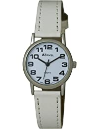 RAVEL LADIES EASY READ WHITE WATCH WITH WHITE STRAP AND CROME CASE R0105.09.2