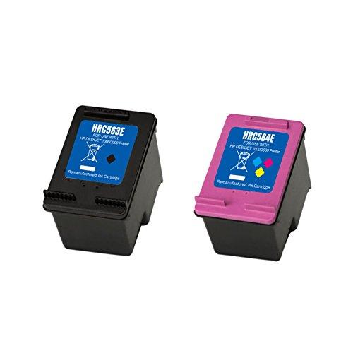 2 Wiederaufbereitet Druckerpatronen 301XL 301 XL Multipack für HP Envy 4500 4502 4504 5530 Deskjet 2540 3055A 3050 2544 Officejet 2620 (Schwarz/Farbe)