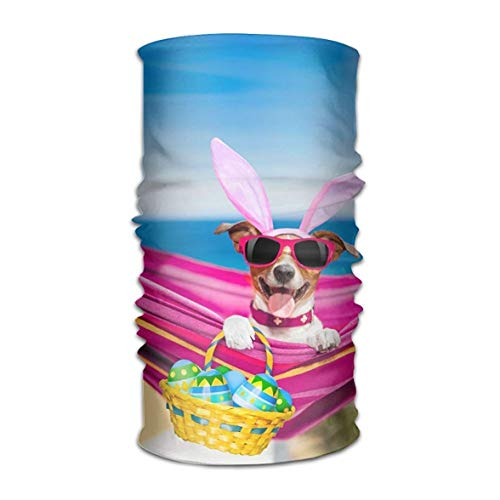 Jolly2T Holidays Easter Dogs Eggs Wicker Basket Headwear Bandanas Seamless Headscarf Outdoor Sport Headdress Running Riding Skiing Hiking Headbands 19.7x9.85(Inch)/50x25(cm) -