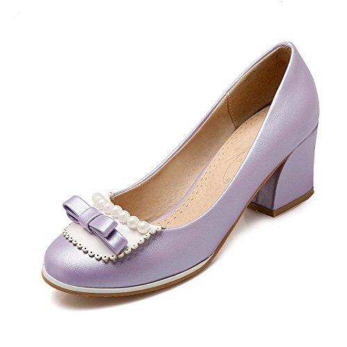VogueZone009 Damen Rund Zehe Ziehen Auf Pu Leder Rein Mittler Absatz Pumps Schuhe Lila
