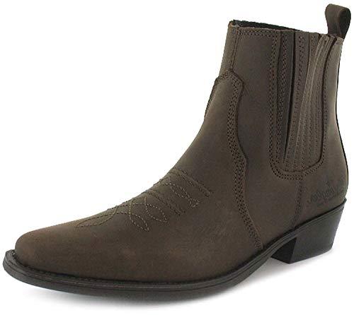 Wrangler - Herren Cowboy Stiefel Leder Stiefel Spitze Dunkelbraun Gr. EU 41-46 - Dunkelbraun, EU 44, Synthetik - Neu Western Cowboy Stiefel