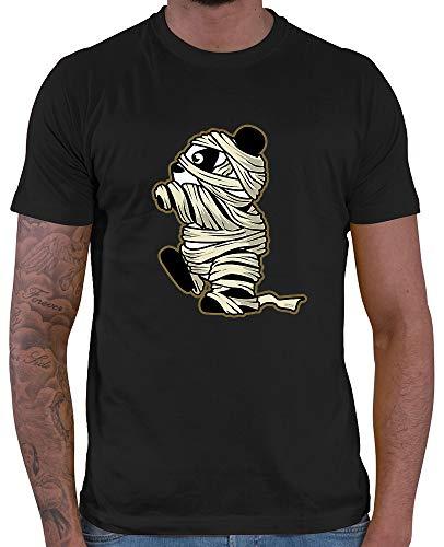 HARIZ  Herren T-Shirt Pandabär Mumie Halloween Kostüm Horror Karneval Plus Geschenkkarten Schwarz XL