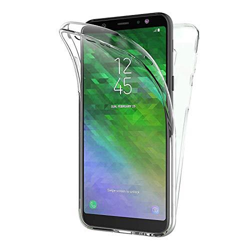 TBOC Hülle für Samsung Galaxy A6 Plus A6+ (2018) A605FN (6.0) - Cover [Transparent] Komplett [Silikon TPU] Full Body [360 Grad] Schutzhülle Vorder und Hinten Seite Ultra Dünn Handy Tasche Anti Kratzer - Seite Plus-galaxy-handys