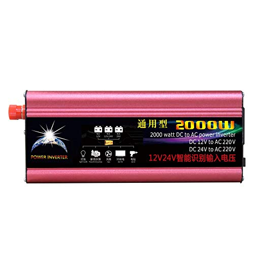 Justdodo 2000W Profesional DC al inversor de Corriente alterna 12V / 24V al inversor automotriz de la Fuente de alimentación del Coche 220V