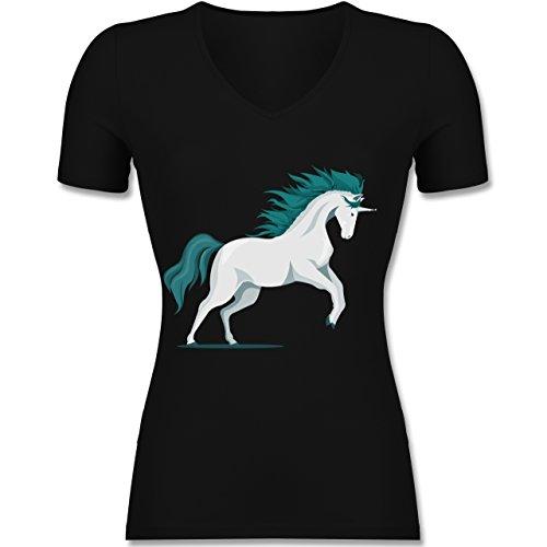 Pferde - steigendes Einhorn - Tailliertes T-Shirt mit V-Ausschnitt für Frauen Schwarz