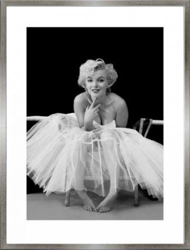 Marilyn Monroe Poster Kunstdruck und MDF-Rahmen Holzoptik Zinn-Silber - Ballerina (80 x 60cm) - Zinn Ballerinas