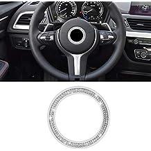 SENZEAL - Volante para coche con logo de cristal decorativo plateado para B M W 3 4 5