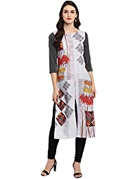 Ziyaa Women's Pink Color Straight Digital Print Kurta (ZIKUCR2321)