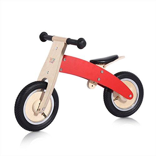 Laufrad Kinderlaufrad Kinder Fahrrad Lauflernrad Lernlaufrad Balance Bike Laufen aus Holz Chopper 10 Zoll in Rot von BABY VIVO