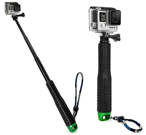 MyGadget Action Kamera Teleskopstange Selfie Stick (wasserdicht) - Zubehör Stange mit Handgriff Rutschfest für GoPro Hero 6 5 4 3+ 3, Xiaomi Yi - Grün