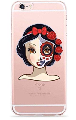 dünner Zucker-Schädel-Prinzessin-Tag des toten freien transparenten TPU Silikon-Zombie-Karikatur-Fall-u. Schirm-Schutzes Hülle Abdeckung Haut tascen (iPhone 6 6s, 4. Snow White) ()