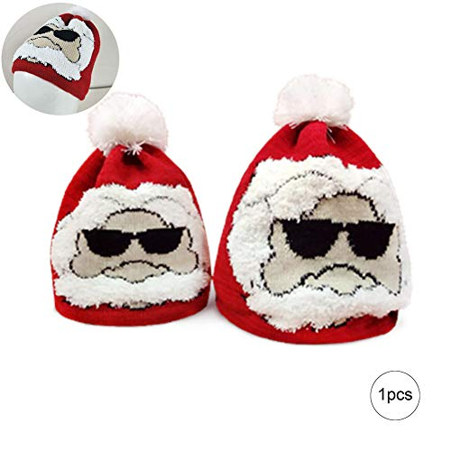 Naisicatar 1pc Weihnachten Strickmütze Wintermütze Slouchy Warm Knit-Schädel-Kappe mit Santa Claus Desgin für - Größe L Weihnachten Stil (Das Jahr Ohne Santa Claus Kostüm)