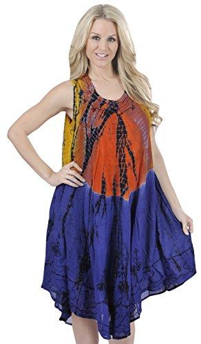 La Leela 3 in 1 rundem Ausschnitt bestickt kurze Rayon Tunika Damen binden Tunika lose prom kleid beiläufige Badebekleidung Lounge verschleiern Bademode ärmel plus Größe Frauen oben blau färben (Tie-dye-langer Rock)