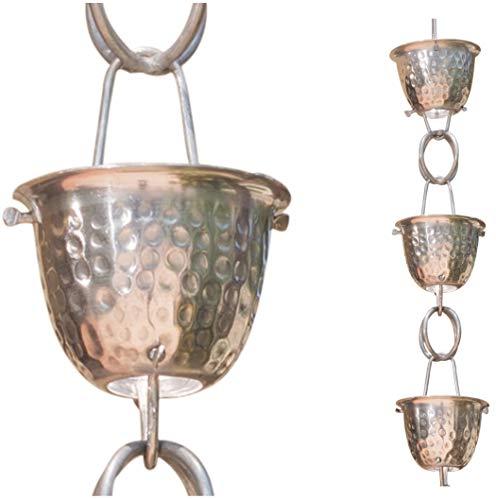 Mill Finish Aluminium (Monarch Aluminium gehämmert Tasse Regen Kette, 8-1/2Füße Länge (Zinn Bronze) Mill Finish)