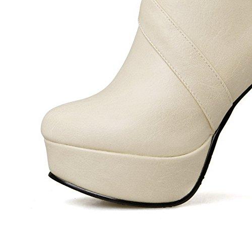 AgooLar Damen Niedrig-Spitze Reißverschluss Blend-Materialien Hoher Absatz Stiefel Cremefarben