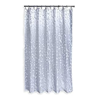 Aqualona Shower Curtain | Water Repellant | Mildew Resistant | Soft Lustre Finish with Weighted Hem | Rust Proof Eyelets | Extra Long 180 x 180 cm | 100% Polyester, Metallic Vineleaf, 180cm x 180cm