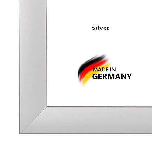 Olimp _ 05Rahmen Foto Bild Silber matt * Wahl der Größe *, Holz, Silber, A2-42x59,4 cm (Aufnahme-foto-rahmen)