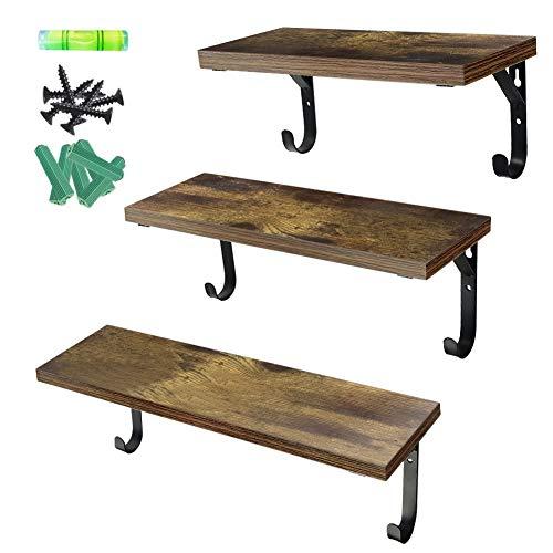 Umi. by Amazon - 3er Set Wandregal Hängelregal Schweberegal aus Holz für Wöhnzimmer Schlafzimmer Büro Küche oder Flur