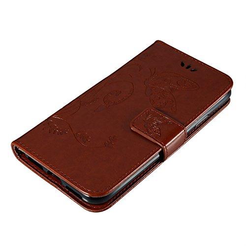 iPhone X Hülle Rose 3D Mariposa Gras PU Leder Wallet Handytasche Flip Etui Schutz Tasche mit Integrierten Card Kartensteckplätzen und Ständer Funktion Für Apple iPhone X / iPhone 10 (2017) 5.8 Zoll +  braun