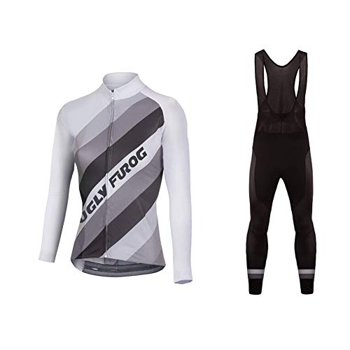 Uglyfrog Radsport Anzüge Damen Winter Warm halten with Fleece Langarm-Radsport-Trikot+Lange Lätzchen Dicht with Gel Pad Breathable Classic Bicycle Set - Herren Tri-anzug