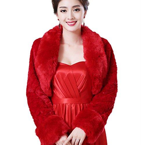 Jungen da donna in pelliccia sintetica wrap cappotto mantella coprispalle per l' inverno caldo abito da sposa (rosso), red, m