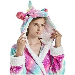 Albornoz Encapuchado, Unicornio Batas de Baño Onesie Adultos Pijamas de Animales Camisón de Dibujos Animados Suave Bata de Dormir Halloween Navidad (Cielo Estrellado, M)