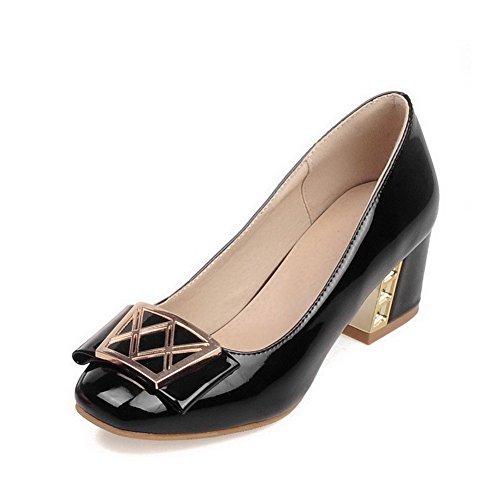 AllhqFashion Damen Mittler Absatz Pu Leder Eingelegt Quadratisch Zehe Pumps Schuhe Schwarz
