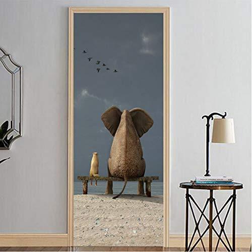 PANDABOOM Dibujos Animados Elefantes Y Ratón Reloj Aves Volando 3D Calcomanías Murales...