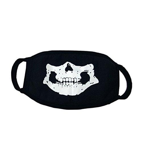 Unisex-Maske, Mundschutz, coole leuchtende Motive, für Cosplay, Partys, Outdoor-Events, staubfeste Baumwolle, totenkopf, Einheitsgröße