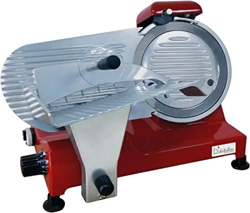 Bkitchen AS 220 Profi-Gastro Allesschneider mit 240 Watt und stufenloser Regelung, Aluminium, Rot
