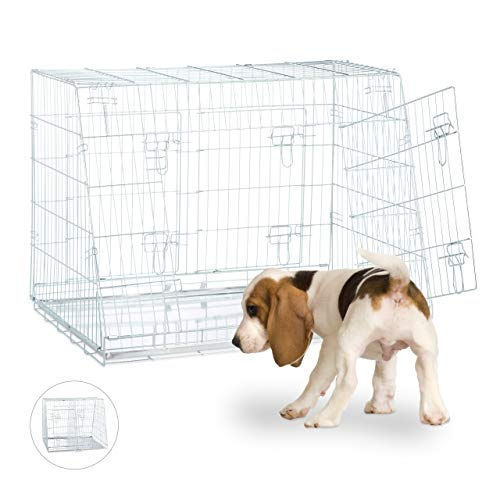 Relaxdays Hundetransportbox, Faltbarer Hundekäfig, doppelt, mit Trennwand, Gitterbox, 3 Türen, Hundebox Auto, L, Silber