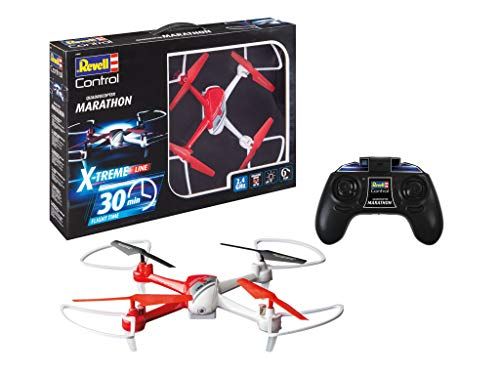 Revell Control 24898 RC Quadcopter X-Treme Marathon, bis zu 30 Minuten Flugzeit Ferngesteuerter Quadrokopter, rot/weiß