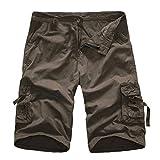 KPILP Mountain Shorts 3/4 Cargo Hose Herren Bermudas Kurz Unterhosen Sonnenbrille Strandhosen Shorts Lightning Edition Sturmfeuerzeug Schwarz(Dunkel Grau,29)