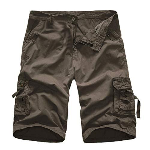 KPILP Mountain Shorts 3/4 Cargo Hose Herren Bermudas Kurz Unterhosen Sonnenbrille Strandhosen Shorts Lightning Edition Sturmfeuerzeug Schwarz(Dunkel Grau,36)
