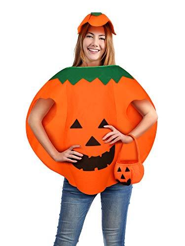 Kostüm Kürbis Ein - Syhood Halloween Kürbis Kostüm Laterne Gesicht Kürbis Cosplay Kleidung mit Beanie Hut und Candy Taschen für Kinder und Erwachsene (Erwachsener: 80 cm)