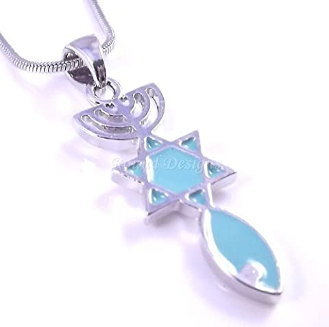 Messianic Seal Necklace Hebraic Roots Pendant Silver Grafted Star Of David Menorah
