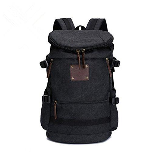 Wanderrucksack Rucksack Schulter Tasche große Kapazität Reisen Canvas Outdoor-Freizeit Computer Tasche Black