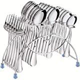 Tiara - Lavish 24 Pc Stainless Steel Cutlery Set (6 Pcs Dessert Spoon, 6 Pcs Baby Spoon, 6 Pcs Baby Fork, 6 Pcs Tea Spoon & Stand)