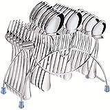 Tiara - Lavish 24 Pc Stainless Steel Cutlery Set (6 Pcs Dessert Spoon, 6 Pcs Baby Spoon, 6 Pcs Baby Fork, 6 Pcs Tea Spoon & Stand)