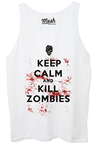 Canotta KEEP CALM ZOMBIES WALKING DEAD - FILM by MUSH Dress Your Style - Donna-XL-BIANCA