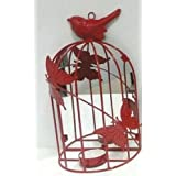 PartyHut BIRD CAGE TEA LIGHT HOLDER /METAL BIRD CAGE /CANDLE HOLDER- Pack Of 1- Red Colour