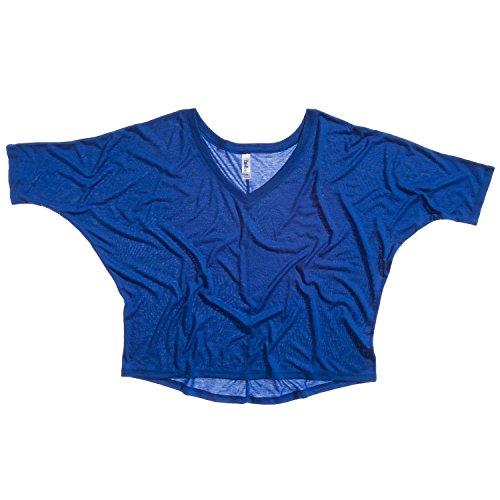 Bella Leinwand Flowy mit V-Ausschnitt Crop Tee Blau - Blau